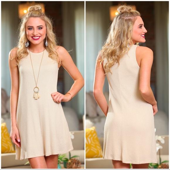 Infinity Raine Dresses & Skirts - ❗️SALE❗️ Oatmeal waffle knit sleeveless dress